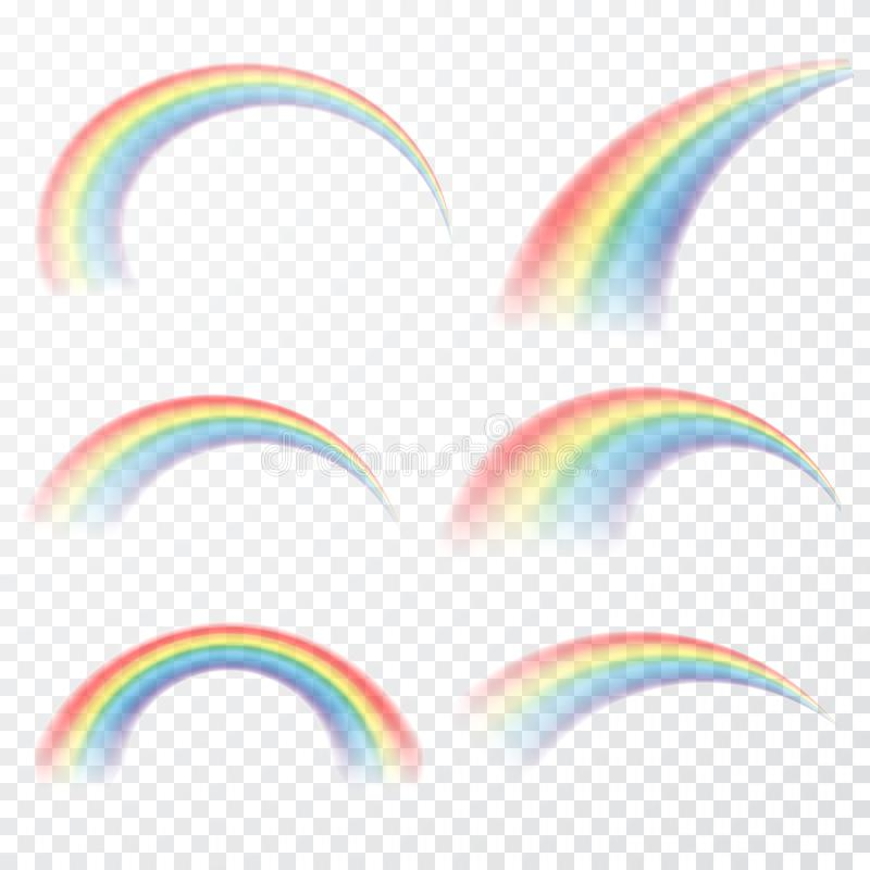 Transparante regenboog Vector illustratie Realistische raibow op transparante achtergrond vector illustratie