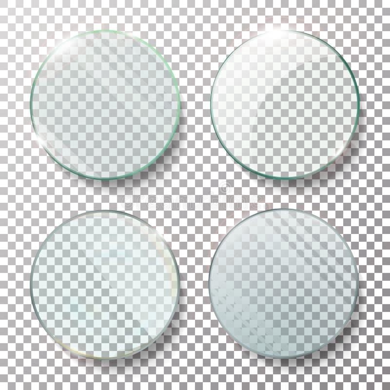 Transparante Ronde Cirkel Vastgestelde Vector Realistische Illustratie Vlakglascirkel Glasplaat royalty-vrije illustratie