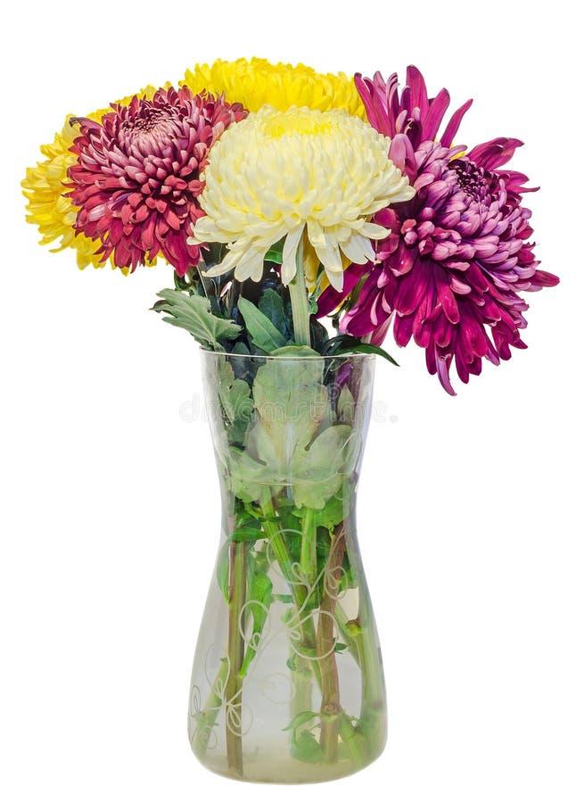 Transparante vaas met chrysant en dhalia purpere en gele bloemen, geïsoleerde, witte achtergrond stock foto