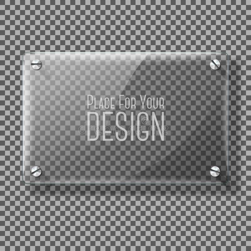 Transparante vectorglasplaat voor uw tekens, op plaidachtergrond vector illustratie