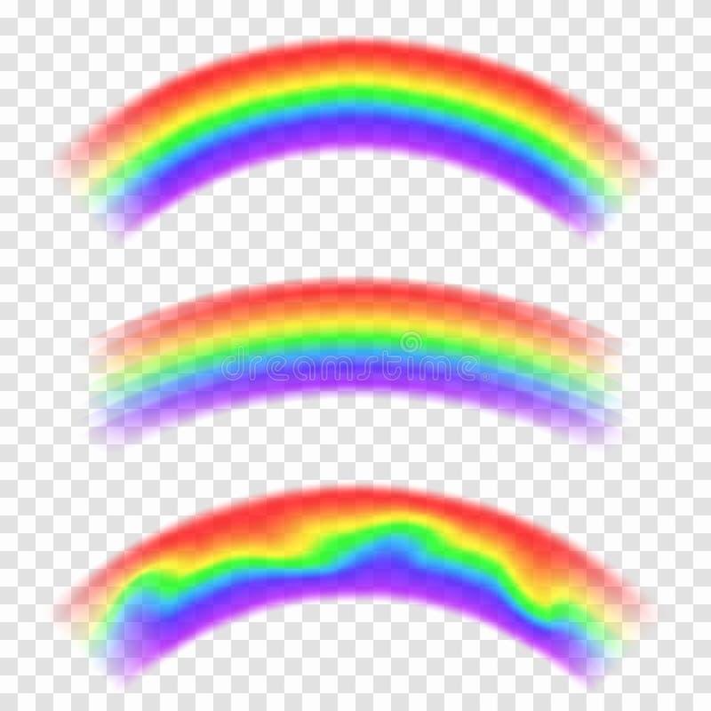 Transparante vectorregenboog op achtergrond Reeks regenbogen in boogvorm Fantasieconcept, symbool van aard royalty-vrije illustratie