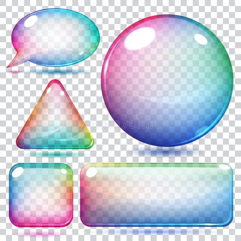 Transparante veelkleurige glasvormen stock illustratie