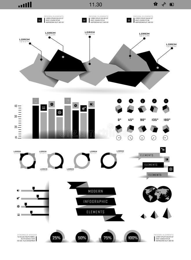 Transparante vlakke website, zaken Infographics royalty-vrije illustratie