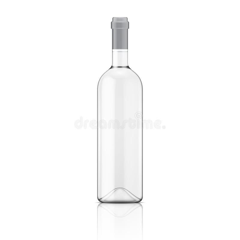 Transparante wijnfles. royalty-vrije illustratie