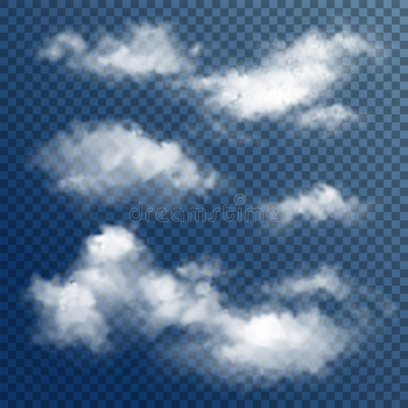 Transparante Witte Vectorwolken stock illustratie