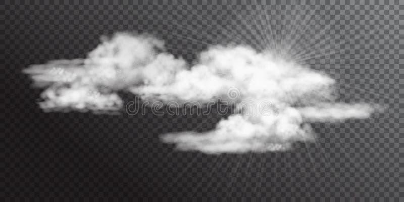 Transparante Witte Vectorwolken royalty-vrije illustratie