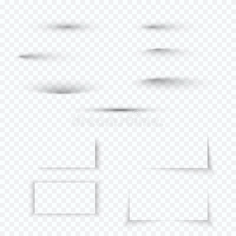 Transparante zachte schaduwreeks Realistische schaduweffect inzameling met zachte rand Vector illustratie stock illustratie