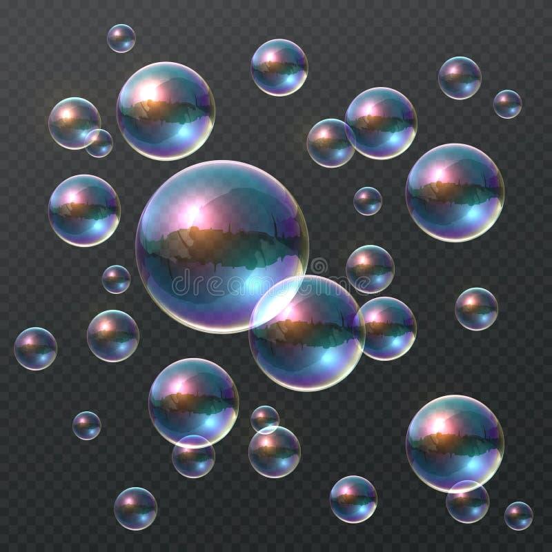 Transparante zeepbel Realistische kleurrijke 3D bellen, bal van de regenboog de duidelijke shampoo met kleurenbezinning Het malpl royalty-vrije illustratie