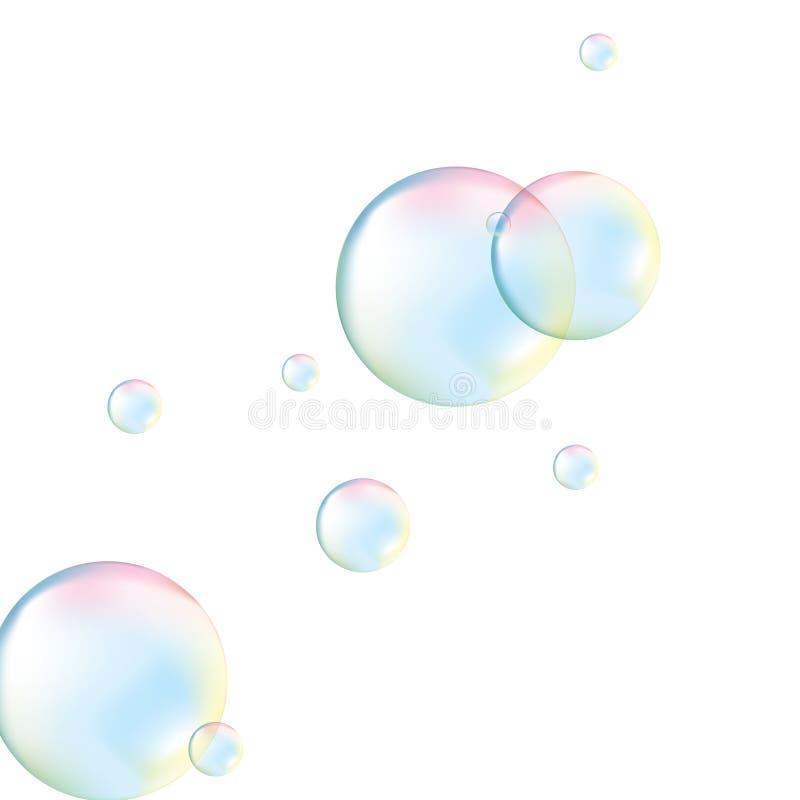 Transparante zeepbels Realistische zeepbels De Zeepbels van de regenboogbezinning Geïsoleerdee vectorillustratie stock illustratie