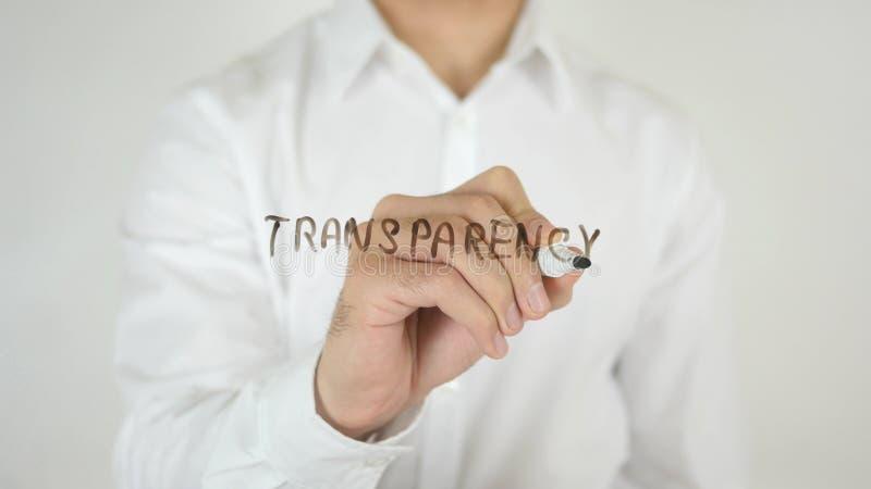 Transparantie, op Glas wordt geschreven dat stock foto