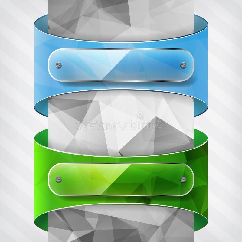Transparantieplaten op de driehoeks blauwe en groene etiketten op vector illustratie