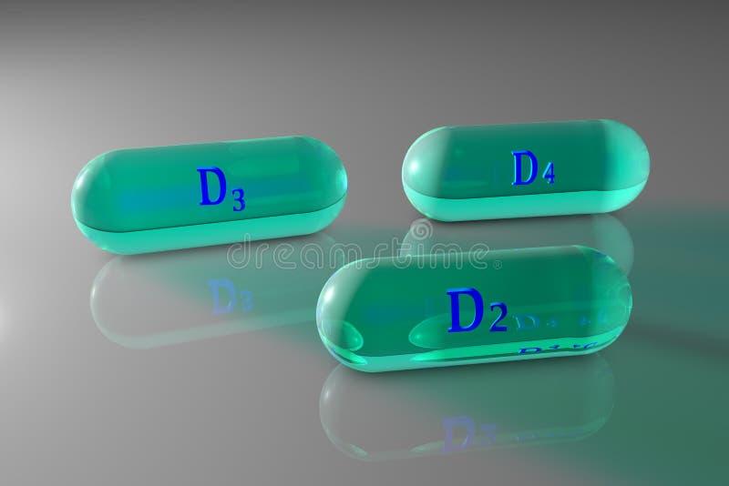 Transpared witamina D2, D3, D4 kapsuły Witaminy i kopaliny kompleks zdrowy pojęcia życie mapy tła oko medical optometrist 3d ilustracja wektor