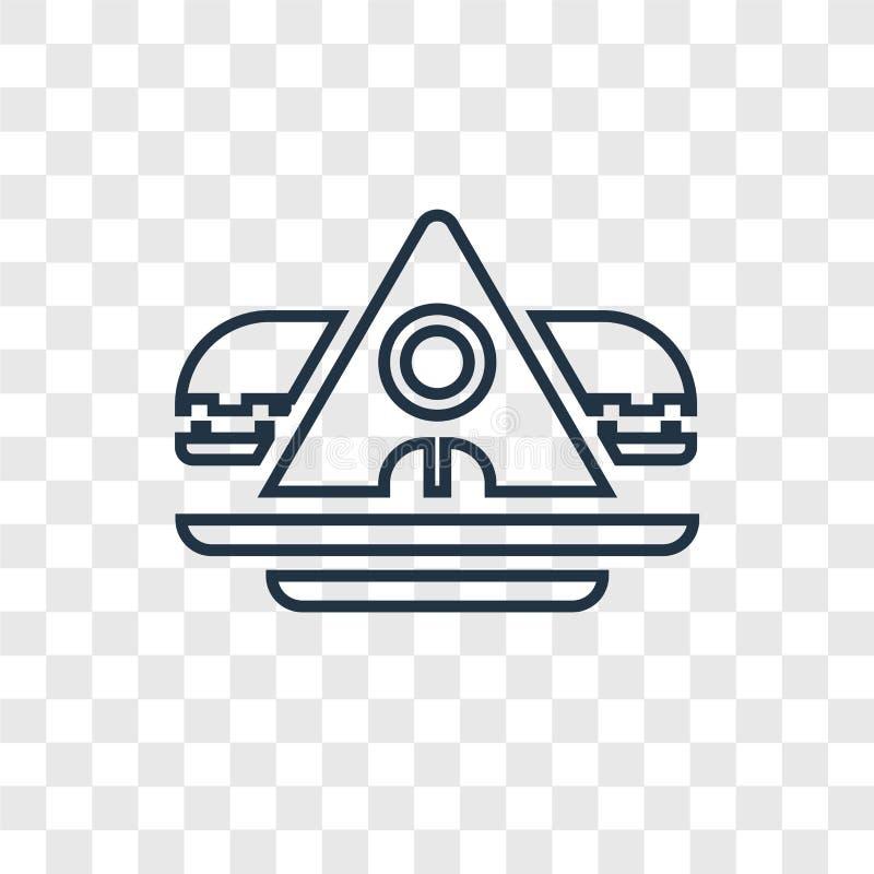 Transparen den linjära symbolen för den arkeologiska begreppsvektorn som isoleras på vektor illustrationer