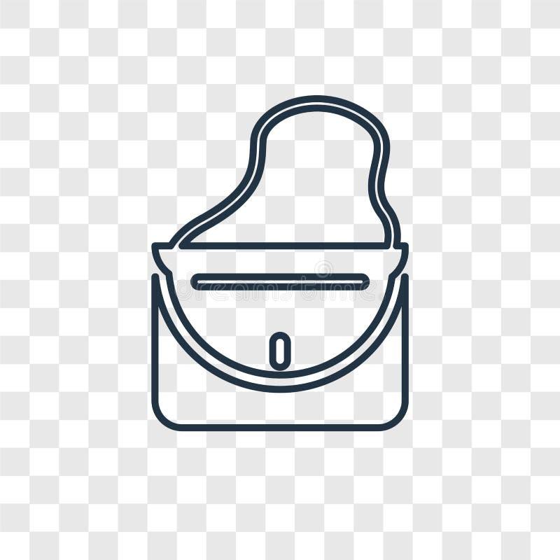 Transparen den linjära symbolen för den kvinnliga handväskabegreppsvektorn som isoleras på vektor illustrationer