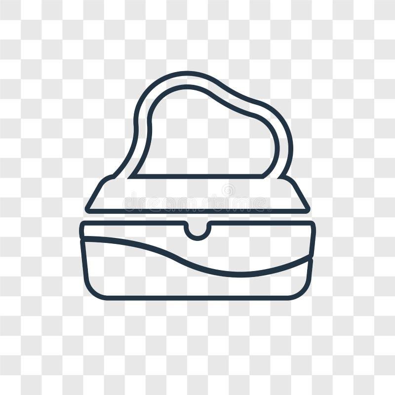 Transparen den linjära symbolen för den kvinnliga handväskabegreppsvektorn som isoleras på royaltyfri illustrationer