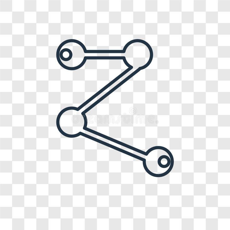 Transparen den linjära symbolen för den molekylära kvalitetsbegreppsvektorn på royaltyfri illustrationer
