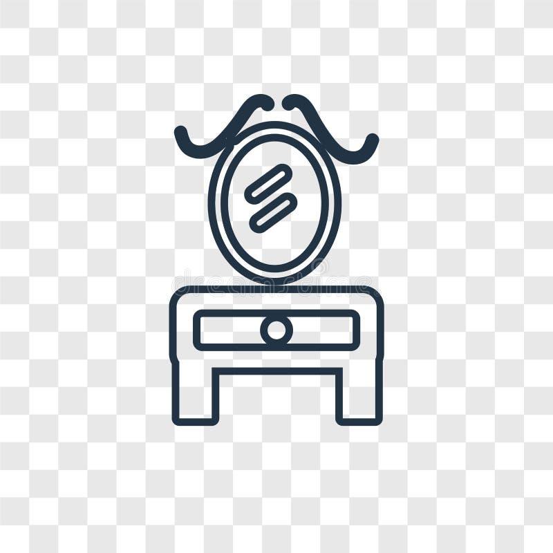 Transparen het vector lineaire geïsoleerde pictogram van het toilettafelconcept royalty-vrije illustratie