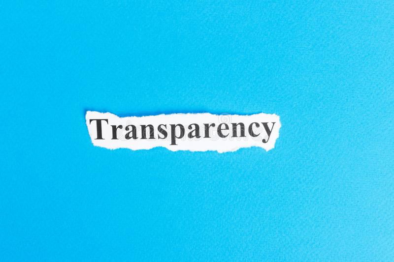 Transparency text on paper. Word Transparency on torn paper. Concept Image.  stock image