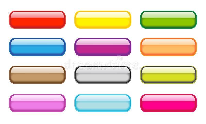 Transparent aqua buttons set stock illustration