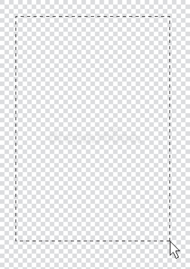 Transparent Background. With selection frame by arrow cursor royalty free illustration