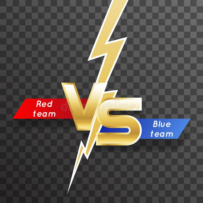 Transparent background lightning strike vs letter energy conflict game versus screen action fight competition vector vector illustration