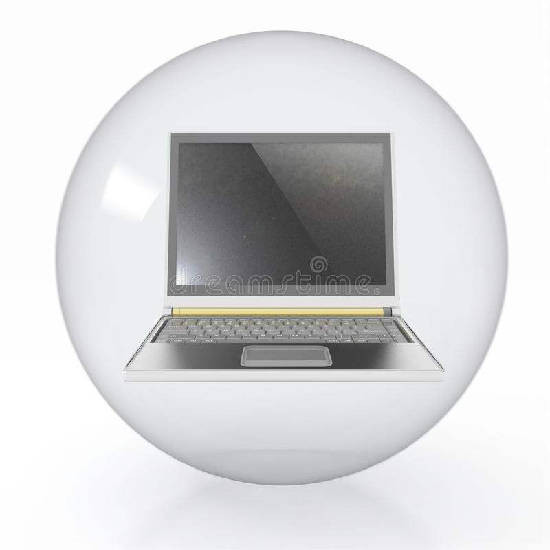 Download Transparent Ball With Open Laptop Stock Illustration - Image: 28572737