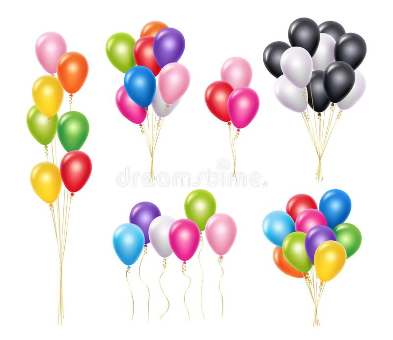 Transparent balloons. Realistic mockup 3d flying helium party decoration balloons vector collection royalty free illustration