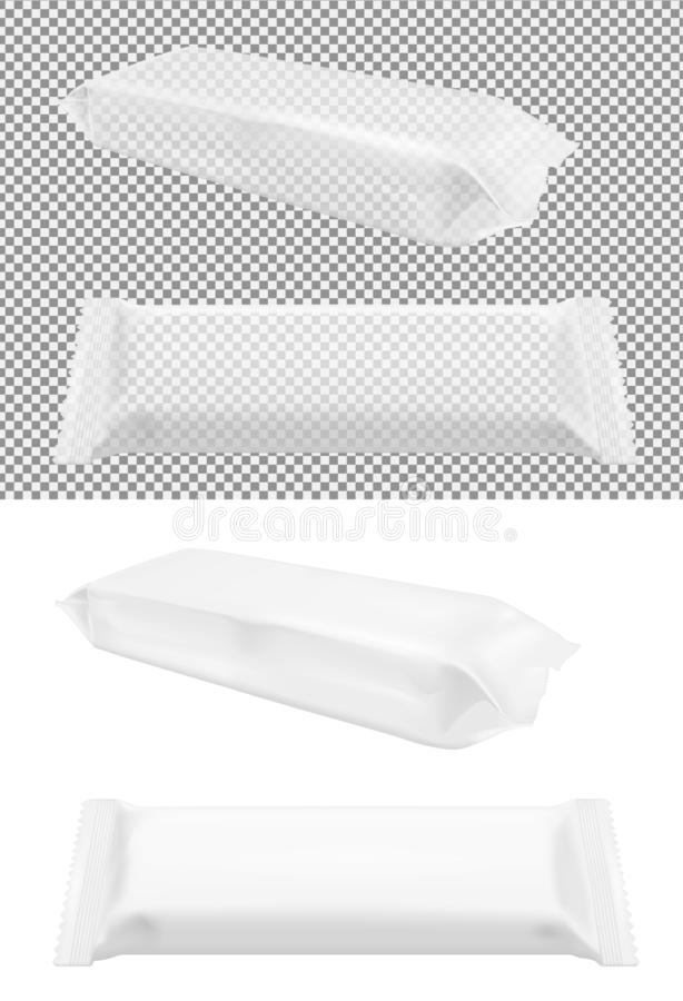 Transparent blank foil food snack pack for chips, candy and other products. Wet wipes packaging royalty free illustration