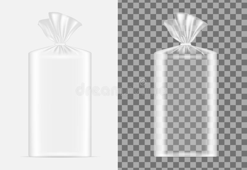 Transparent blank packaging for bread. Sachet for coffee, sweets stock illustration