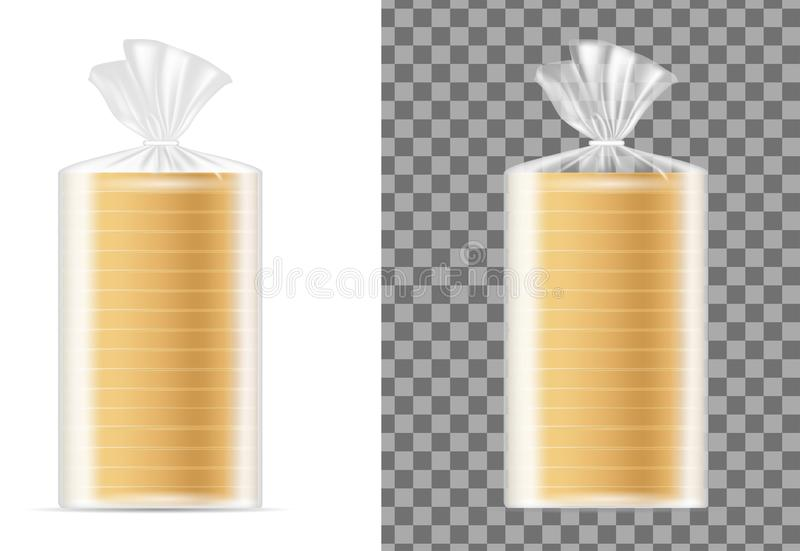 Transparent blank packaging with white bread royalty free illustration