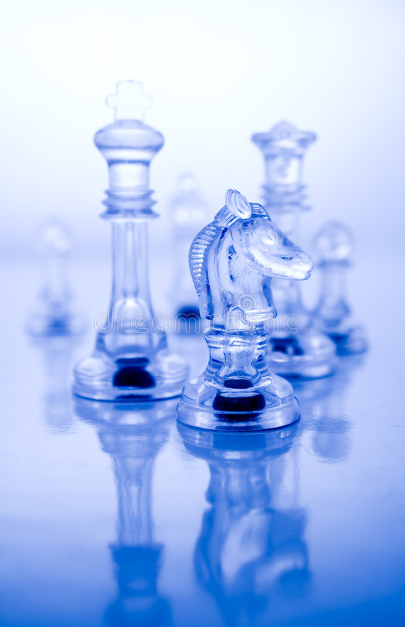 Transparent blue chess royalty free stock photography