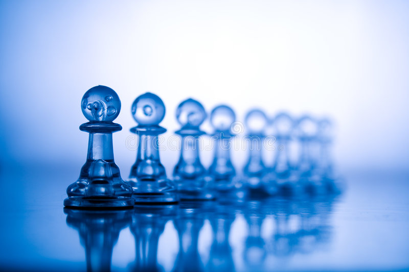 Transparent blue chess stock images