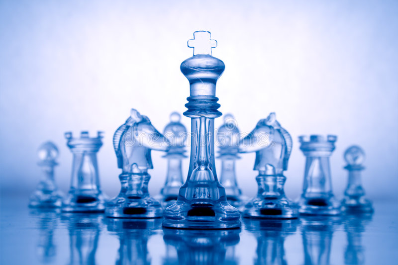 Transparent blue chess. Transparent chess on a blue background stock image
