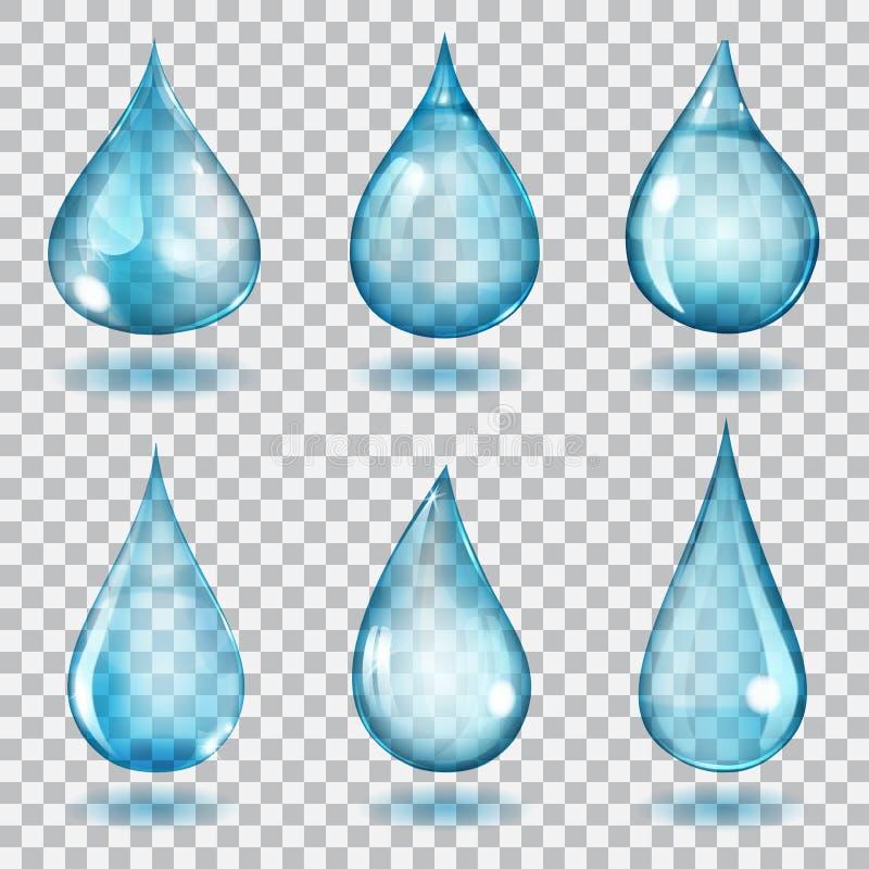 Transparent blue drops. Set of six transparent drops of different forms in blue colors vector illustration