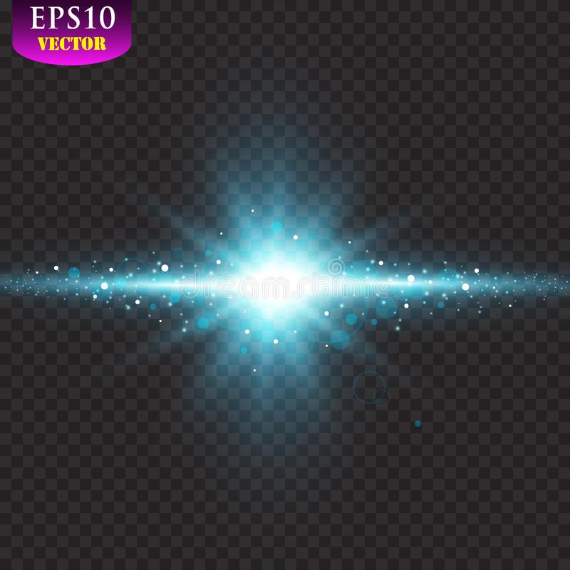 Transparent blue ligthy effects on a dark background. Spotlights, flare, explosion and stars. Vector royalty free illustration
