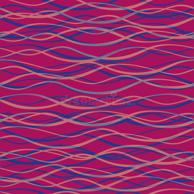 Transparent blue and pink hand drawn horizontal doodle lines. Seamless vector pattern on purple berry background. Great royalty free illustration