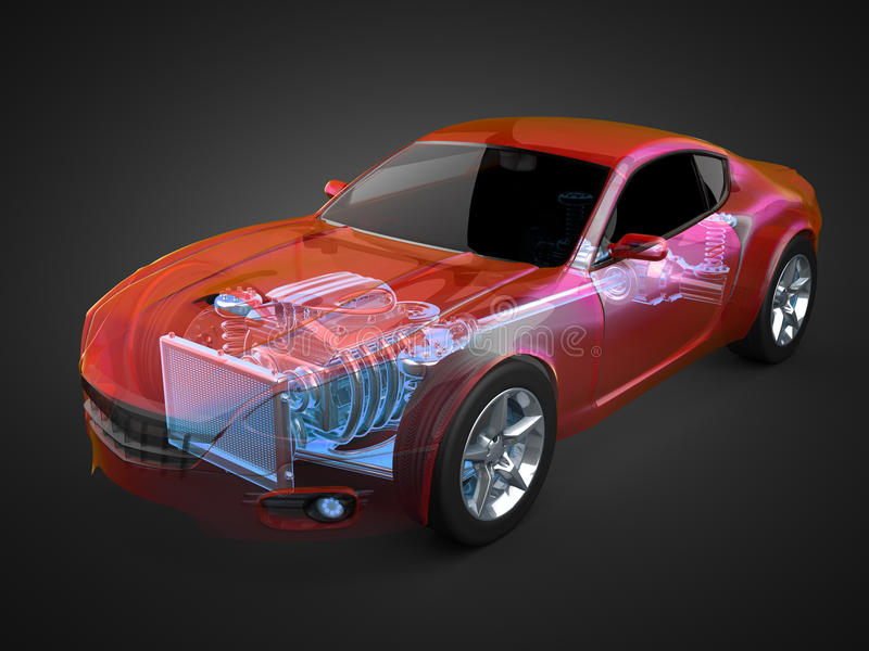 Transparent car concept with visible engine and transmission. 3D rendered royalty free illustration