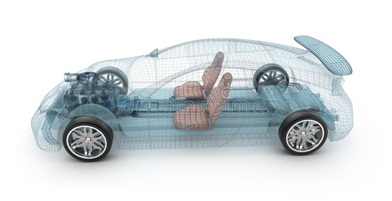 Transparent car design, wire model.3D illustration. royalty free illustration