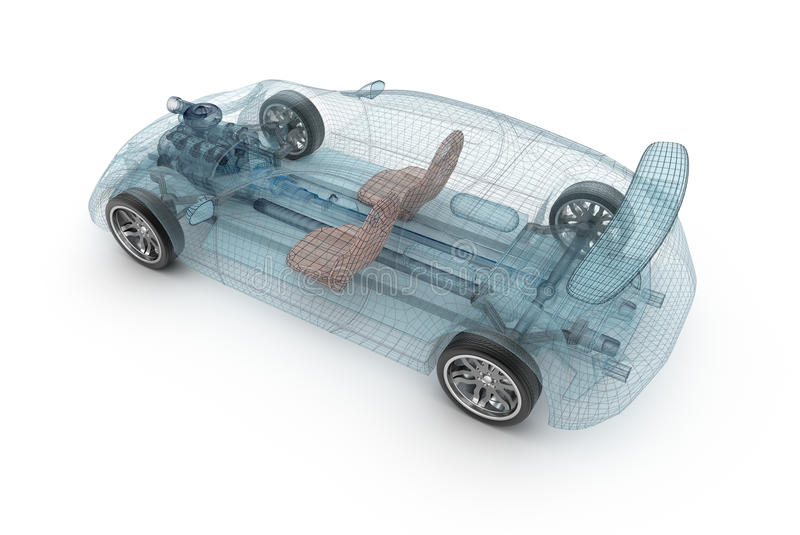 Transparent car design, wire model. 3D illustration. vector illustration