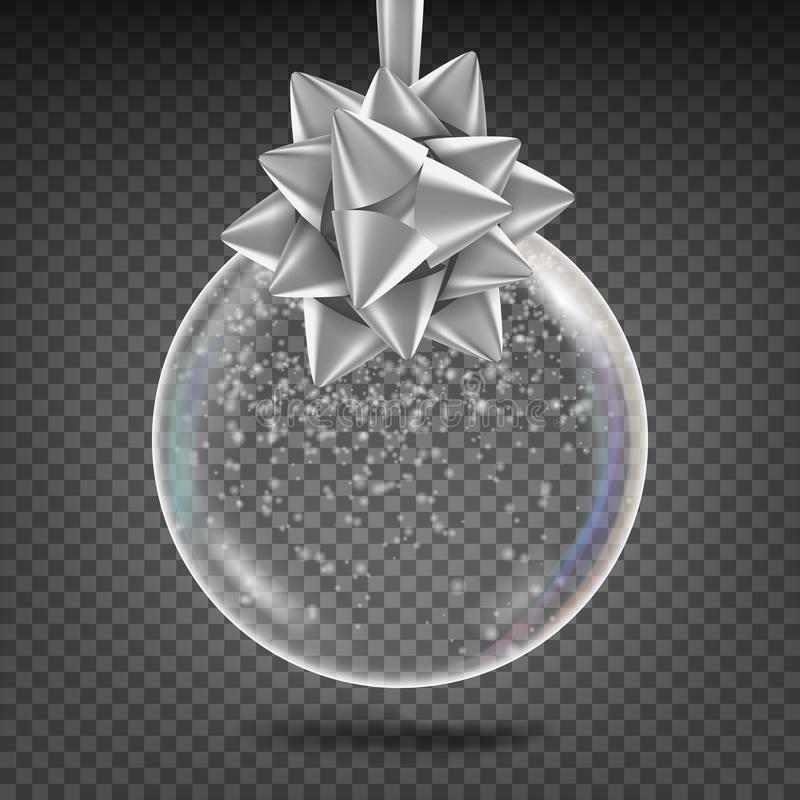 Transparent Christmas Ball Vector. Shiny Glass Xmas Tree Toy With Snowflake And Silver Bow. New Year Holidays Decoration. Element. 3D Realistic vector illustration