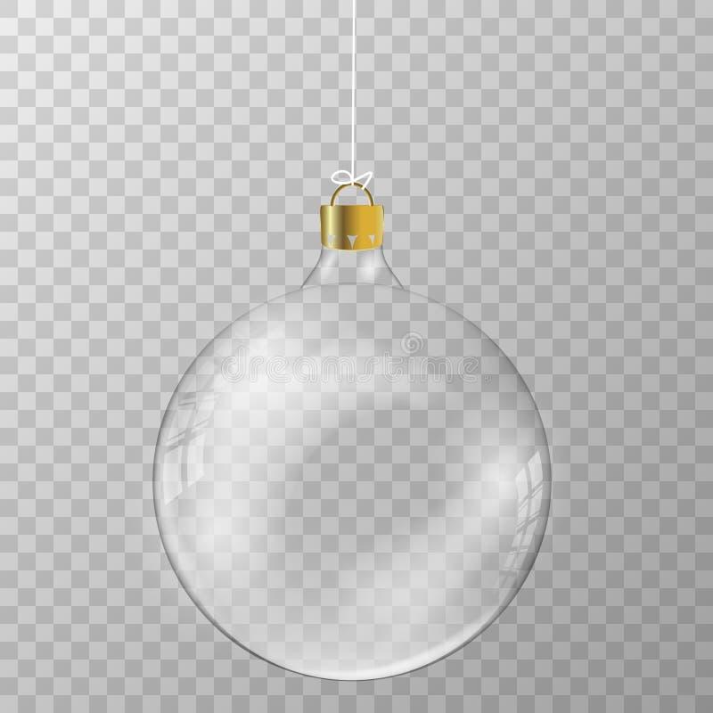 Transparent Christmas vector ball stock illustration