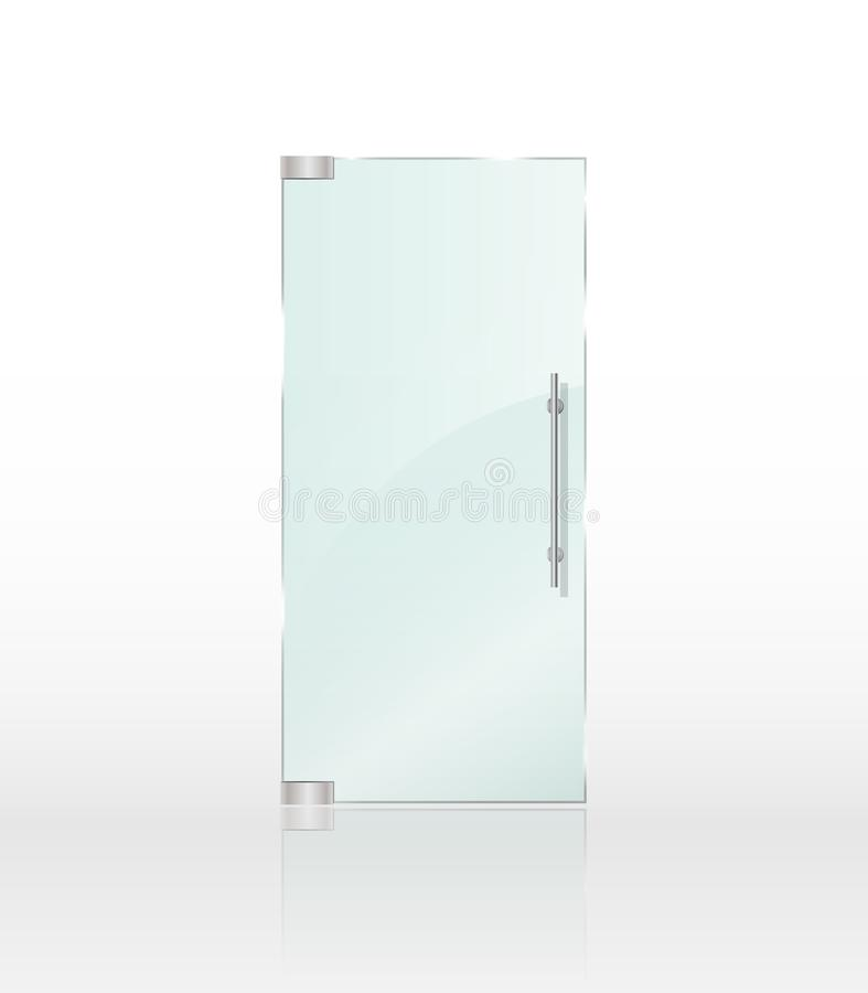 Transparent Clear Glass Door Isolated On White Background. Stock ...