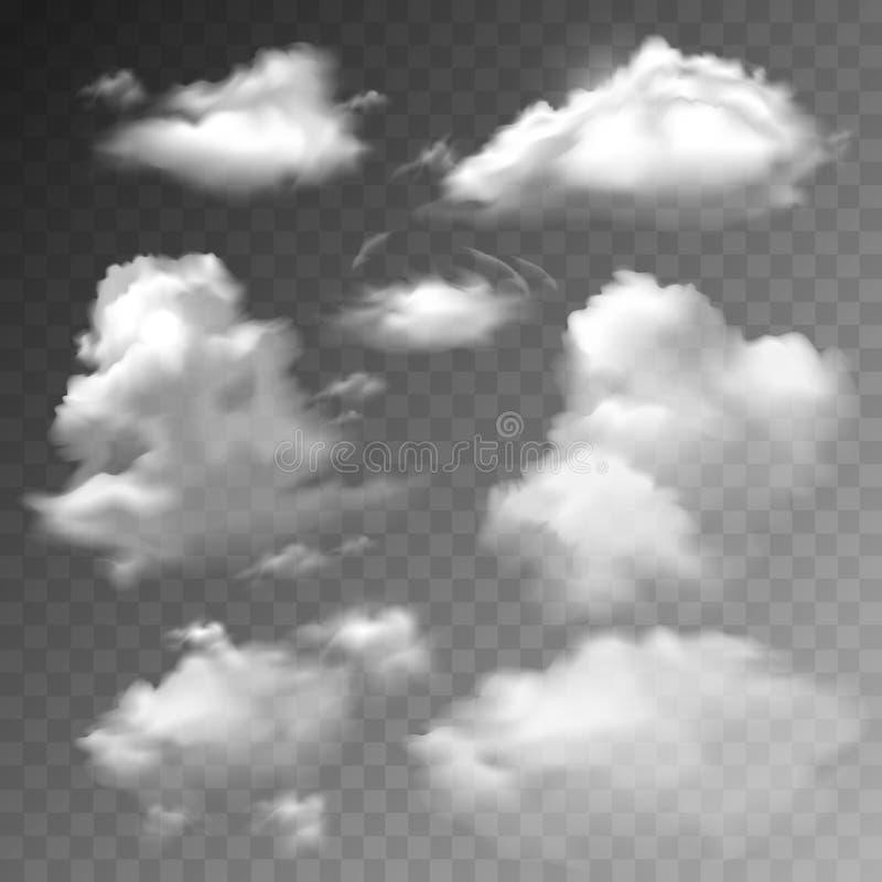 Transparent clouds set stock illustration