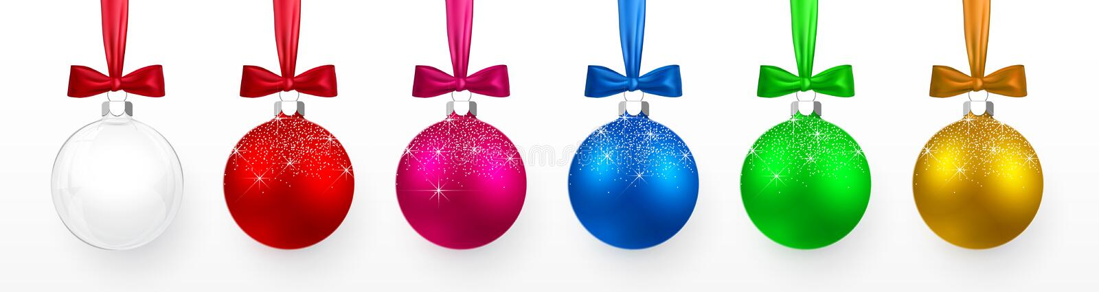Transparent and Colorful Christmas and New Year toys, balls with snow effect and bow set. Xmas glass ball, Red and blue, green and. Purple traditional holiday royalty free illustration
