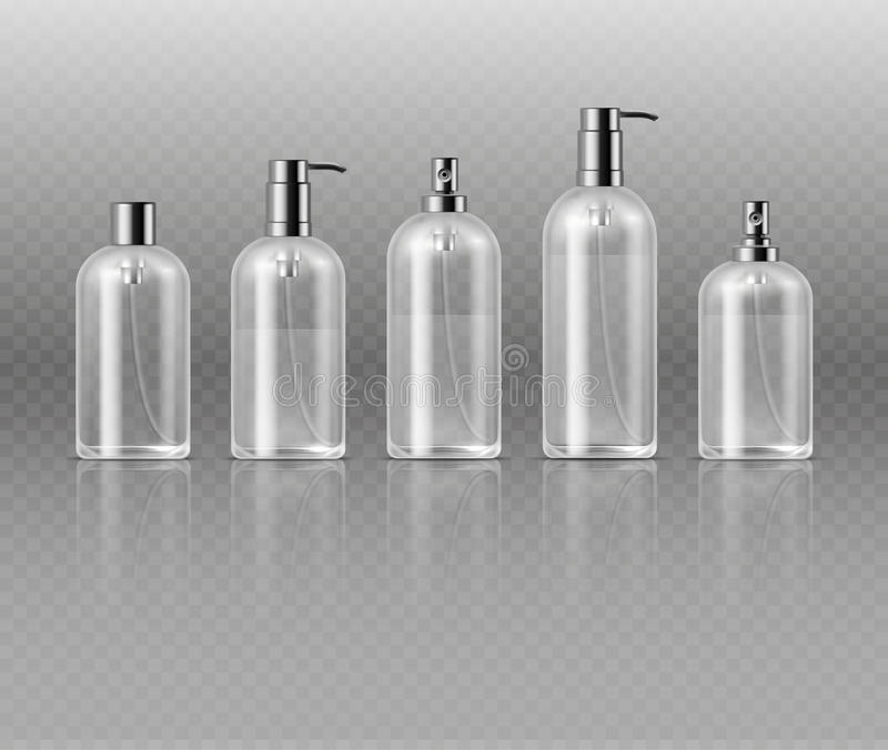 Transparent cosmetic perfume bottles with pump, cosmetic glass tube packaging vector template royalty free illustration