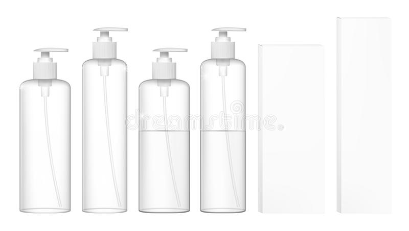 Transparent Cosmetic Plastic Bottles With Dispenser Pump. Liquid Container For Gel, Lotion, Cream, Shampoo. EPS10 Vector vector illustration