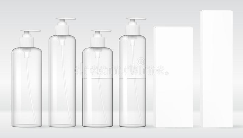 Transparent Cosmetic Plastic Bottles With Dispenser Pump. Liquid Container For Gel, Lotion, Cream, Shampoo stock illustration