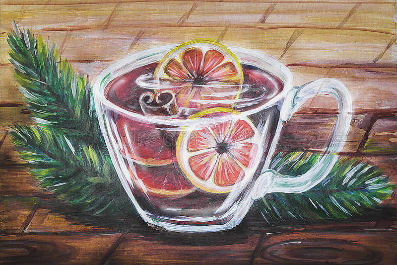 Transparent cup of mulled wine. Made in gouache, handmade royalty free illustration