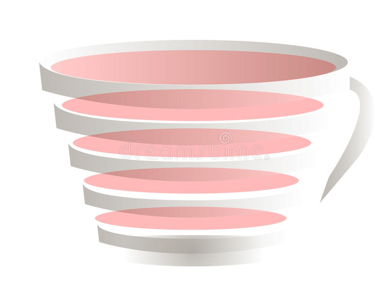Transparent cup. Sliced full transparent cup in grey and pinc colors stock illustration