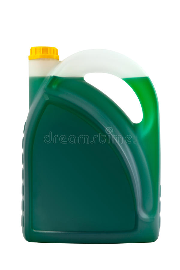 Transparent detergent plastic bottle isolated on gray. Transparent detergent plastic bottle with green liquid isolated on gray stock images